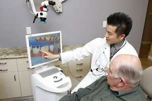 Dr. Kim designs and mills your dental restoration in office using the CEREC machine